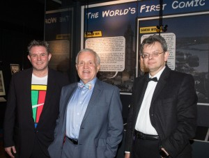 Professor Laurence Grove, (left) lead academic for the Comic Invention exhibition with John and Professor Anton Muscatelli, Principal of the University of Glasgow